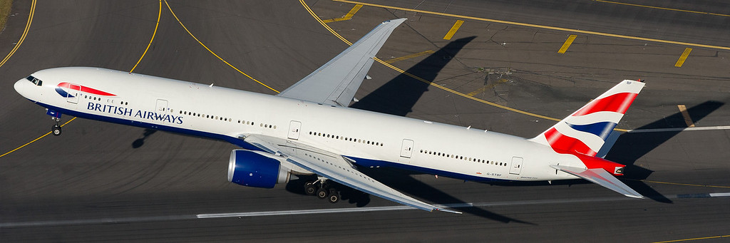British Airways B777-300/ER taking off - a small sample of aerial photography available.
